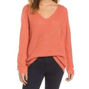 Caslon NWOT Coral V-Neck Tunic Sweater